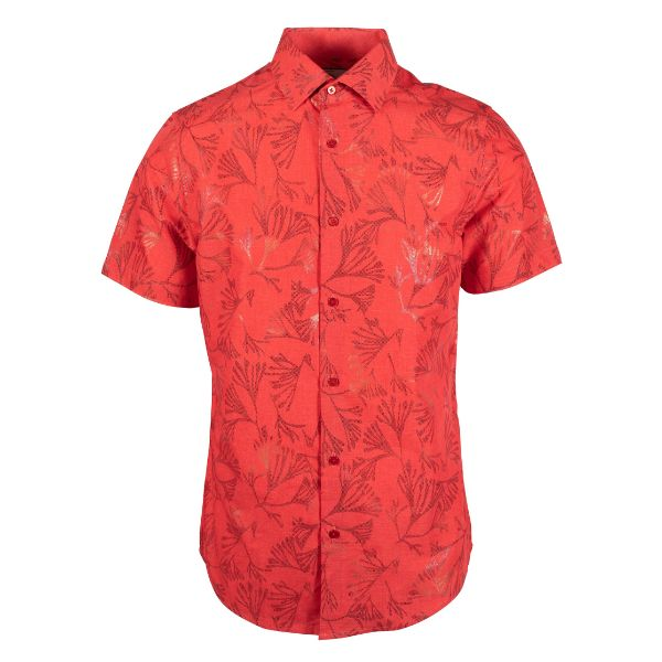 Daily Steals-Suslo Couture Men's Slim Fit Casual Printed Short Sleeve Button Down Shirt-Men's Apparel-Red & Red Branches-S-