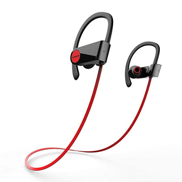 Liger BLAZE Bluetooth 4.1 Sweatproof Earbuds with Noise Cancelling and Mic-Red-Daily Steals