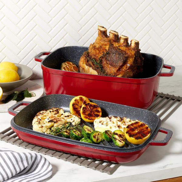 Curtis Stone Dura-Pan Nonstick 8.5 qt. Roaster with 3.5 qt. Grill Lid-Daily Steals