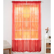 Linda Sheer Voile Curtain Panels - Various Colors - 4-Pack-Red-Daily Steals
