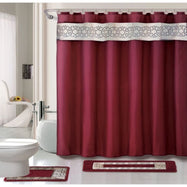 Designer Bath Poly-Acrylic 15-Piece Bathroom Set-Burgundy-Daily Steals