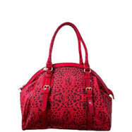 Leopard Print Leather Satchel Bag-Red-Daily Steals