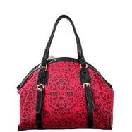 Leopard Print Leather Satchel Bag-Red/Black-Daily Steals