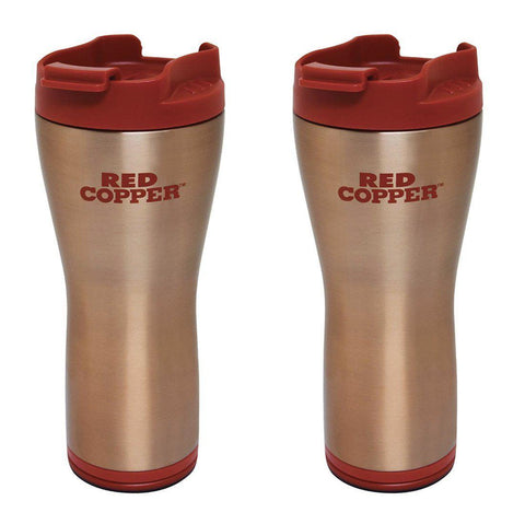 Daily Steals-[2-Pack] Red Copper Mug - 16 oz. Ceramic-Lined Double-Insulated Hot/Cold Travel Mug-Kitchen Essentials-