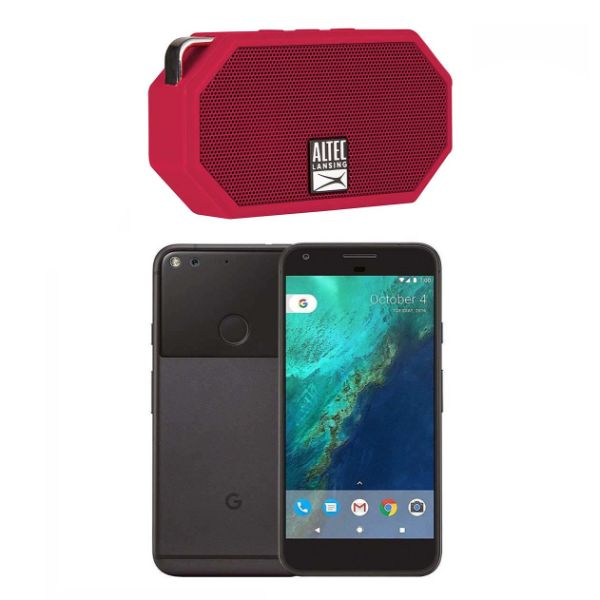 Google Pixel 32GB - Quite Black (Verizon + GSM Unlocked; AT&T / T-Mobile) Smartphone with Altec Lansing Mini Speaker-Black/Red Speaker-Daily Steals