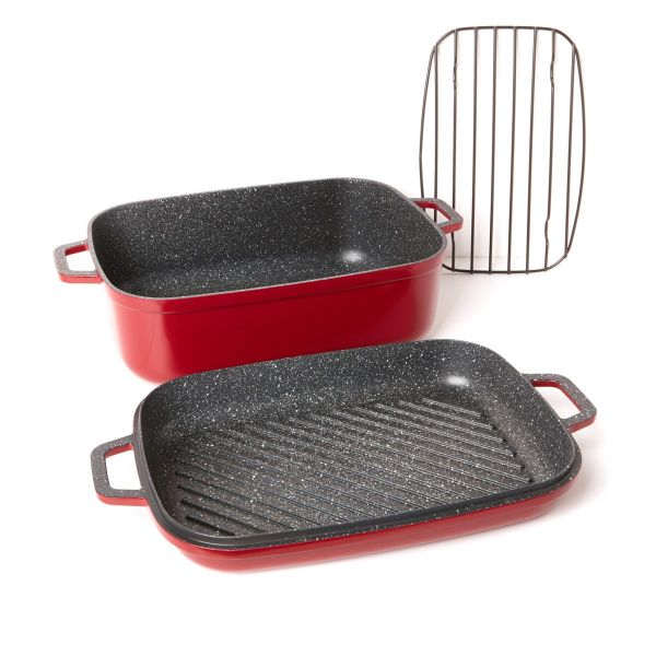 Curtis Stone Dura-Pan Nonstick 8.5 qt. Roaster with 3.5 qt. Grill Lid-Red-Daily Steals