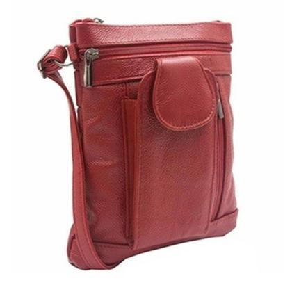 "Daily Steals-""On-the-Go"" Soft Leather Crossbody Bag-Accessories-Red-"