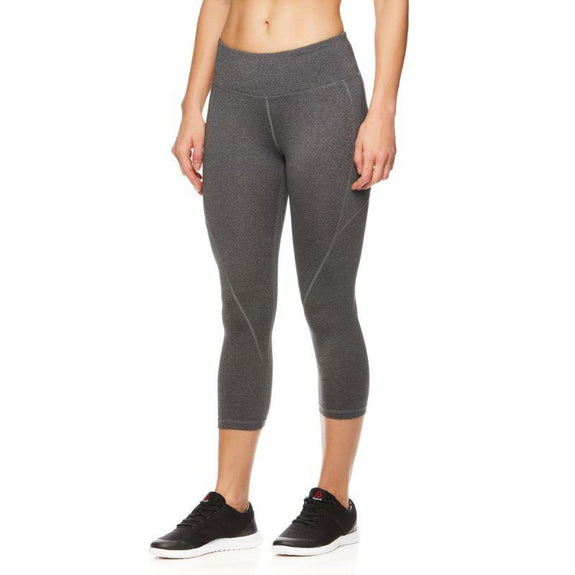 Reebok Leggings Capri à séchage rapide pour femmes-Charcoal Heather-XS-Daily Steals