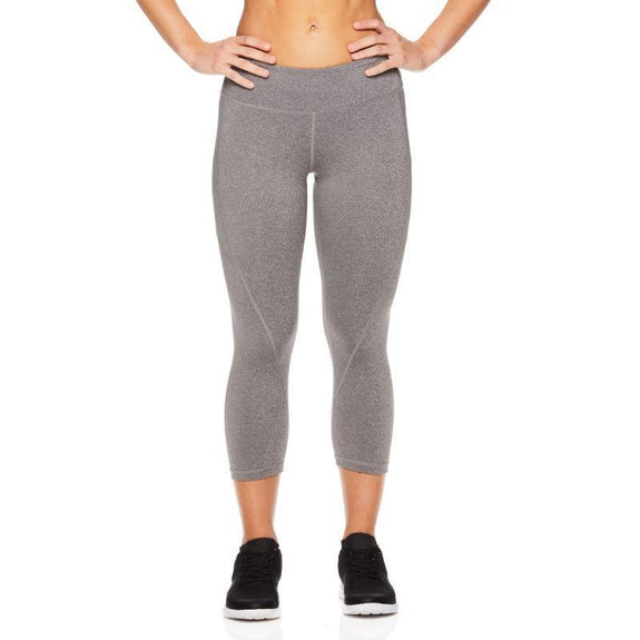 Reebok Women's Quick-Dry Capri Leggings-Flint Grey Heather-S-Daily Steals