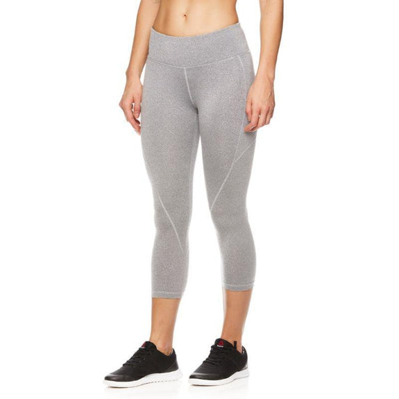 Reebok Women's Quick-Dry Capri Leggings-Grey Heather-XS-Daily Steals