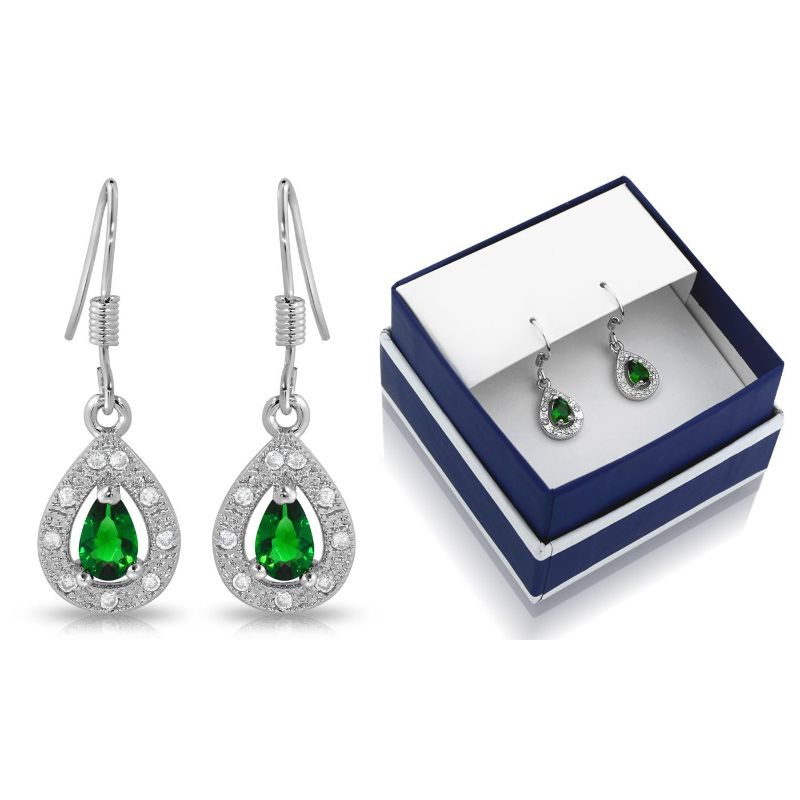 Created Green Emerald Pear Shape Hanging Earrings-Daily Steals