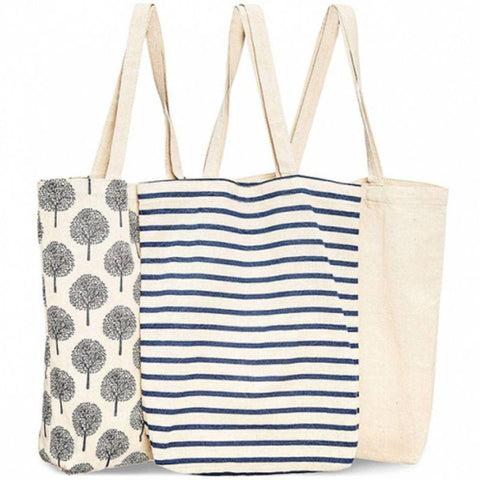 Reusable Cotton Grocery Shopping Tote Bag-Plain-