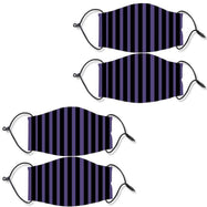 Reusable Ear Loop Face Mask - 2 , 4, or 8 Pack-Purple & Black Stripes-4 Pack-