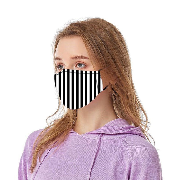 Reusable Ear Loop Face Mask - 2 , 4, or 8 Pack-Black & White Stripes-2 Pack-