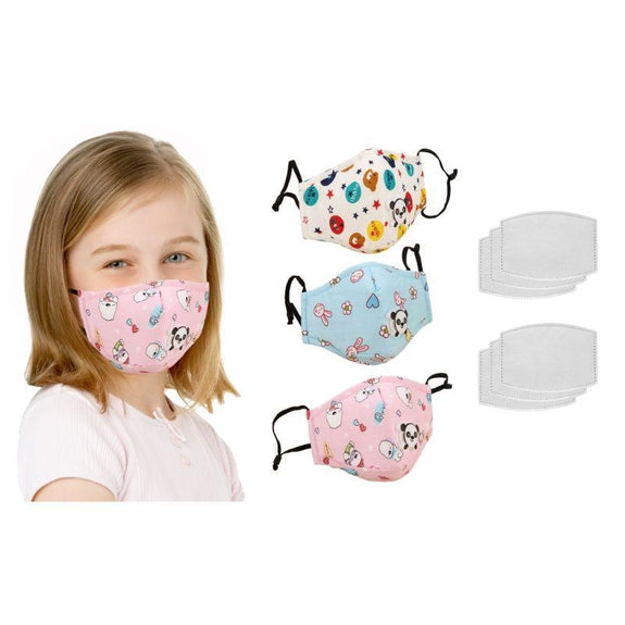 Reusable Kids Face Mask with Filters and Adjustable Earloop - 3 Pack-Girl-