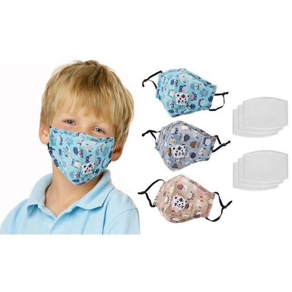 Reusable Kids Face Mask with Filters and Adjustable Earloop - 3 Pack-Boy-
