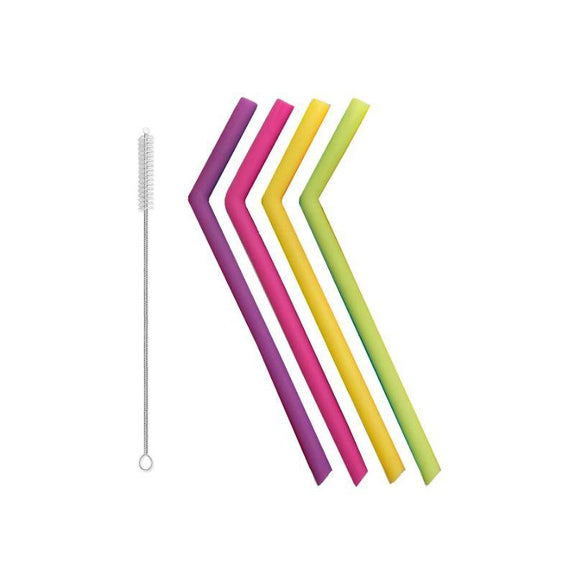 Reusable Straws Stainless Steel And Silicone-Silicone-5 Piece Jumbo - Bent-