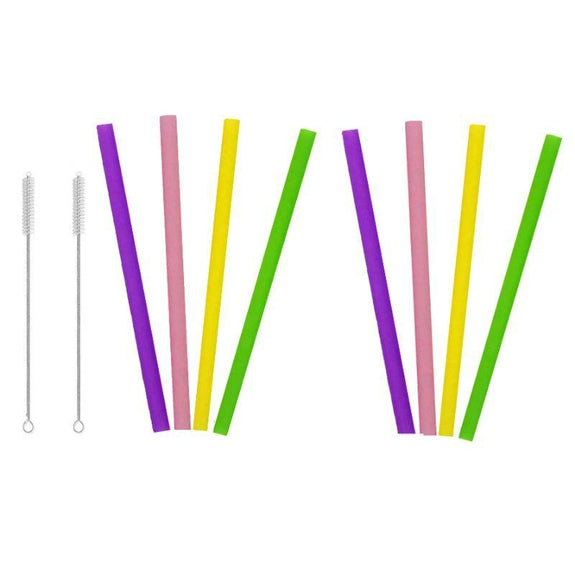 Reusable Straws Stainless Steel And Silicone-Silicone-10 Piece Jumbo - Straight-
