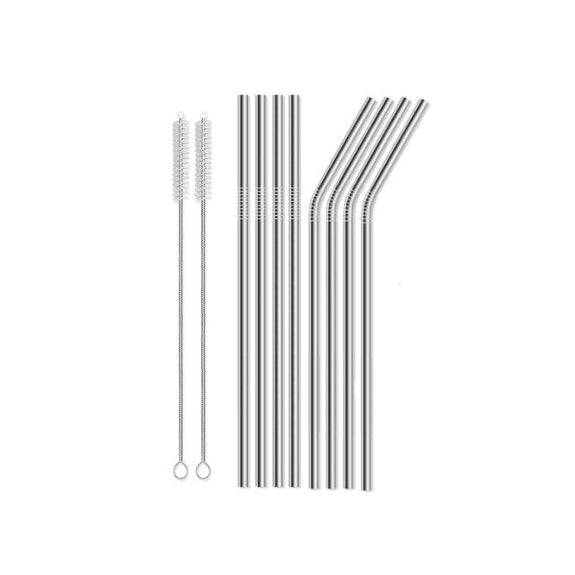 Reusable Straws Stainless Steel And Silicone-Stainless Steel-10 Piece Straight & Bent-