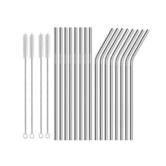 Reusable Straws Stainless Steel And Silicone-Stainless Steel-20 Piece Straight & Bent-