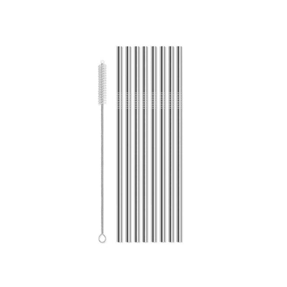 Reusable Straws Stainless Steel And Silicone-Stainless Steel-8 Piece Straight-