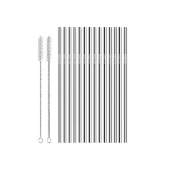 Reusable Straws Stainless Steel And Silicone-Stainless Steel-16 Piece Straight-