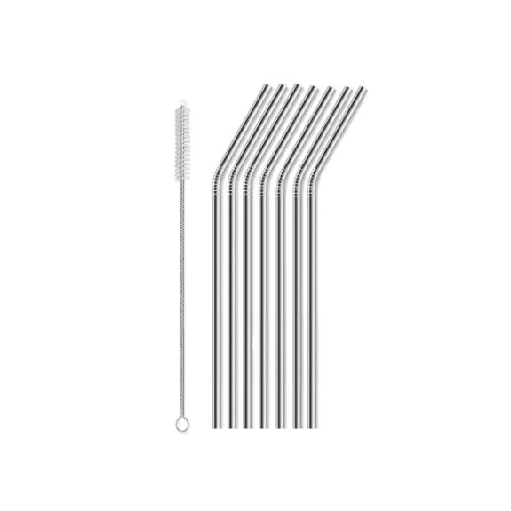 Reusable Straws Stainless Steel And Silicone-Stainless Steel-8 Piece Bent-