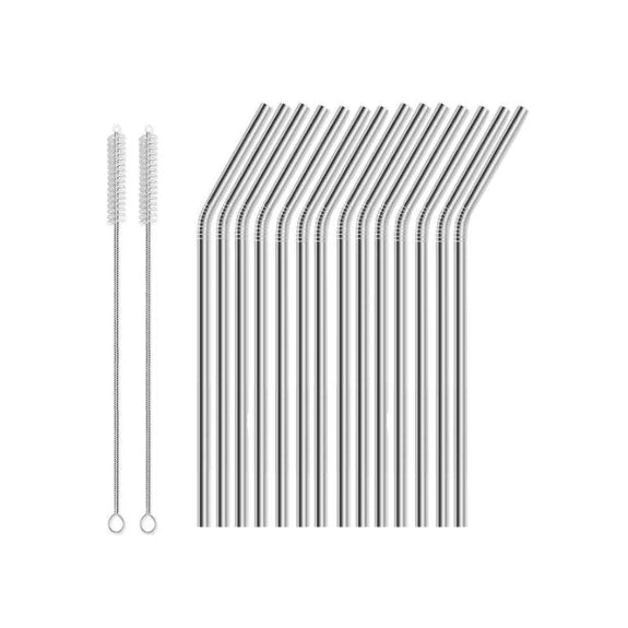 Reusable Straws Stainless Steel And Silicone-Stainless Steel-16 Piece - Bent-