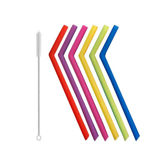 Reusable Straws Stainless Steel And Silicone-Silicone-7 Piece - Bent-