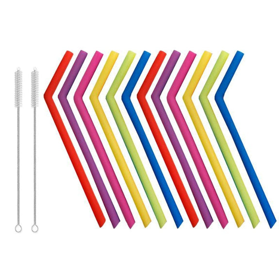 Reusable Straws Stainless Steel And Silicone-Silicone-14 Piece - Bent-