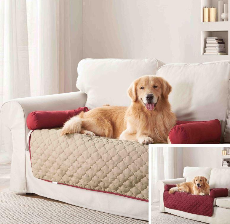 "Daily Steals-Reversible Water Resistant Pet Furniture Protector-Pets-Garnet-Natural-45x34""-"