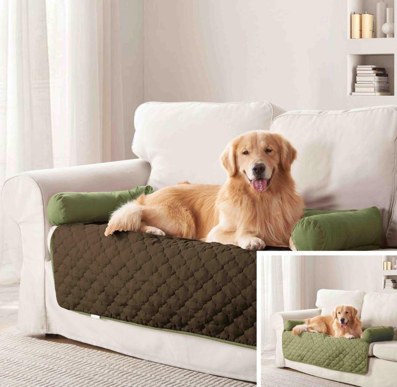 "Daily Steals-Reversible Water Resistant Pet Furniture Protector-Pets-Sage-Chocolate-45x34""-"