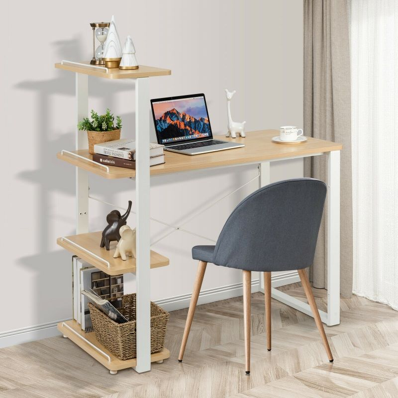 Reversible Computer Desk with Adjustable Bookshelf