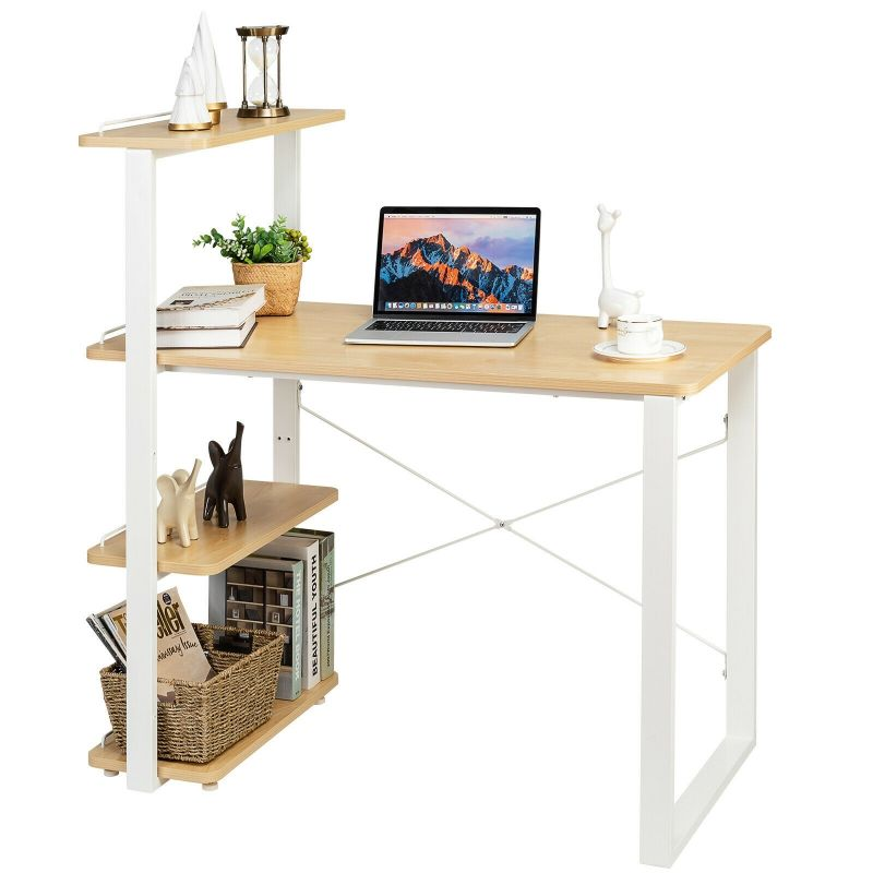 Costway Reversible Computer Desk Study Table with Adjustable Bookshelf