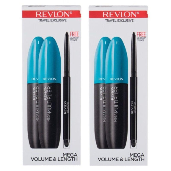 Revlon Mega Volume and Length Multiplier Mascara Blackest Eyeliner - Paquet de 2