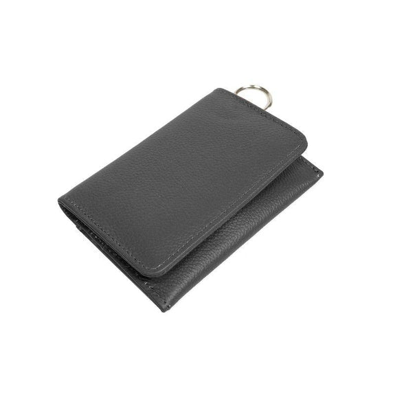 RFID Genuine Leather Key Ring Wallet, Credit Card Holder-Black-Daily Steals