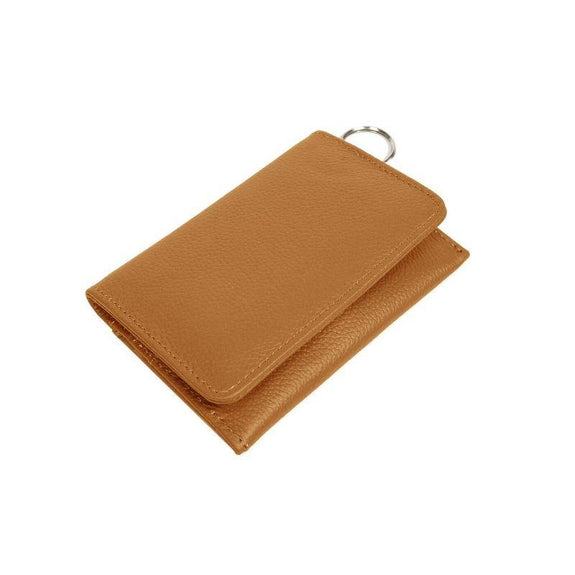 RFID Genuine Leather Key Ring Wallet, Credit Card Holder-Light Brown-Daily Steals