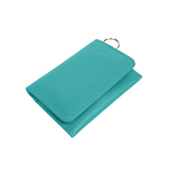 RFID Genuine Leather Key Ring Wallet, Credit Card Holder-Teal-Daily Steals