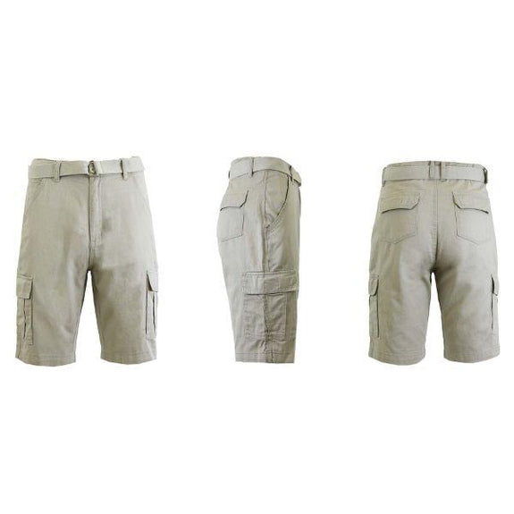 Men's Cotton Cargo Shorts with Tonal D-Ring Belt-Sand-30-Daily Steals