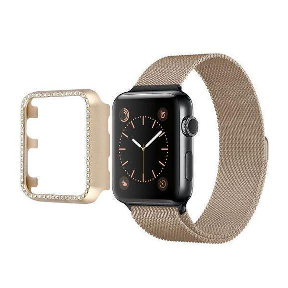 Daily Steals-Rhinestone Apple Watch Bumper-Wearable Accessories-Gold-40mm-
