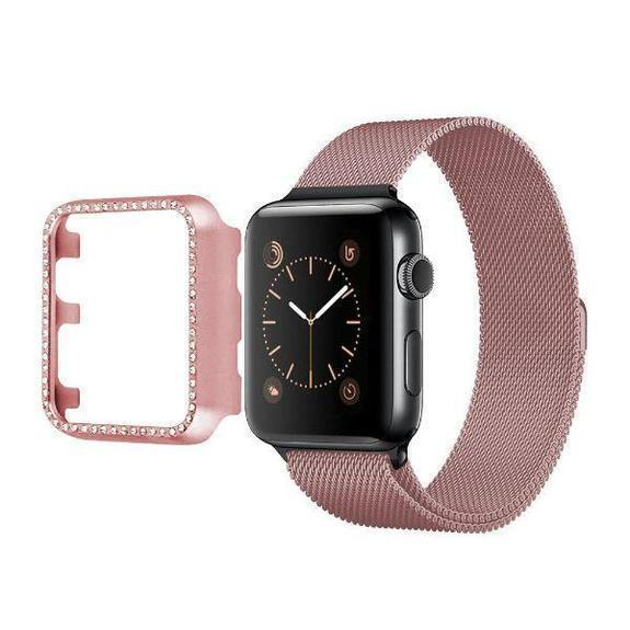 Daily Steals-Rhinestone Apple Watch Bumper-Wearable Accessories-Rose Gold-40mm-