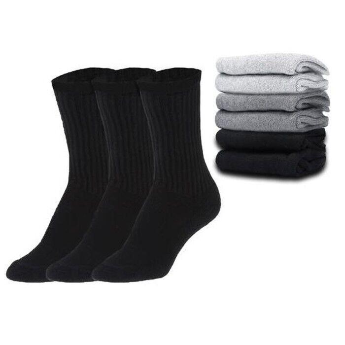 Daily Steals-Everlast Men's Regular Tube Crew Socks - Black & Grey - 12 Pairs-Men's Accessories-