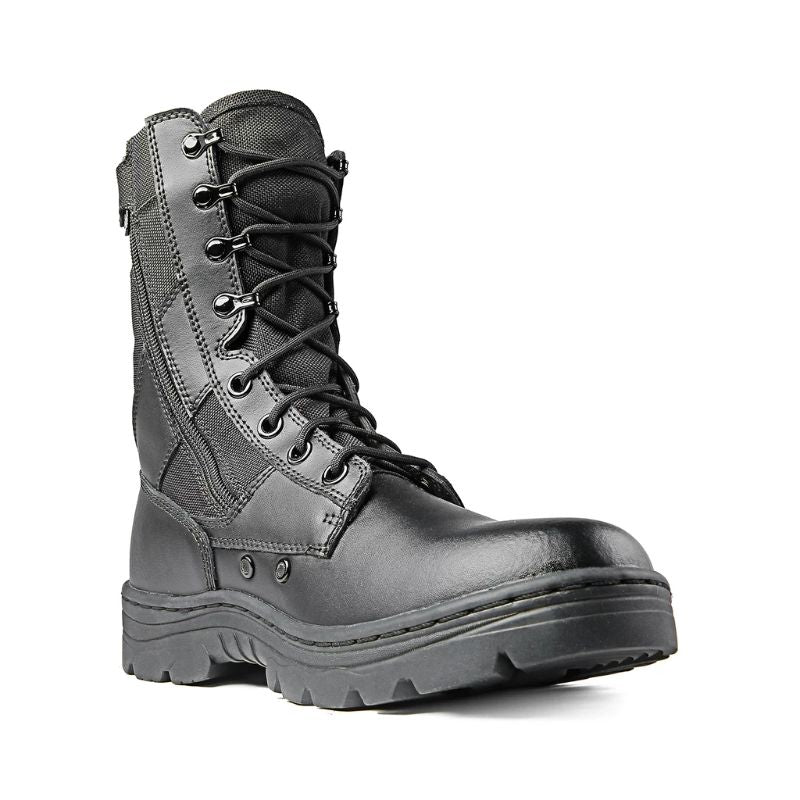 "Ridge Footwear Men's Dura-Max 8"" Side Zipper Black Leather Tactical Boots-Daily Steals"