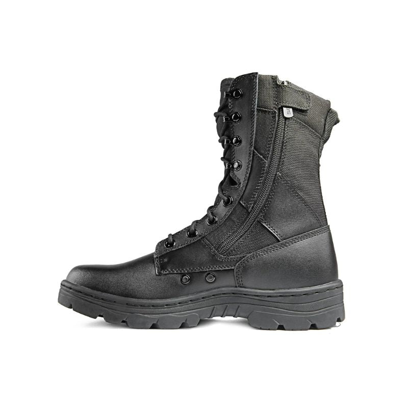 "Ridge Footwear Men's Dura-Max 8"" Side Zipper Black Leather Tactical Boots-4-Daily Steals"