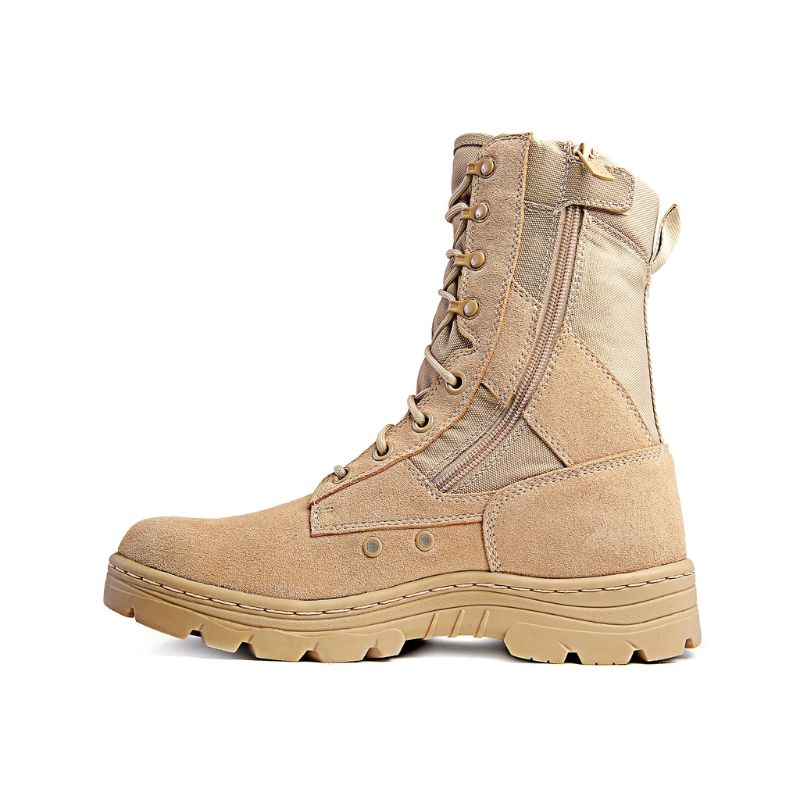 "Ridge Footwear 8"" Men's Dura-Max Side Zipper Sand Tactical Military Boots-4-Daily Steals"