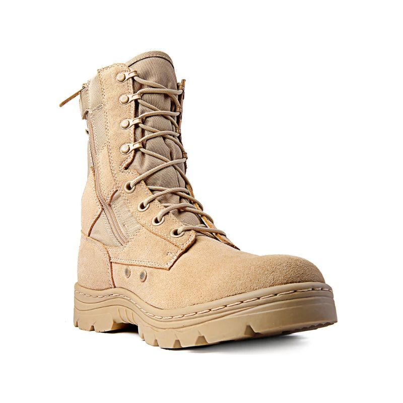 "Ridge Footwear 8"" Men's Dura-Max Side Zipper Sand Tactical Military Boots-Daily Steals"