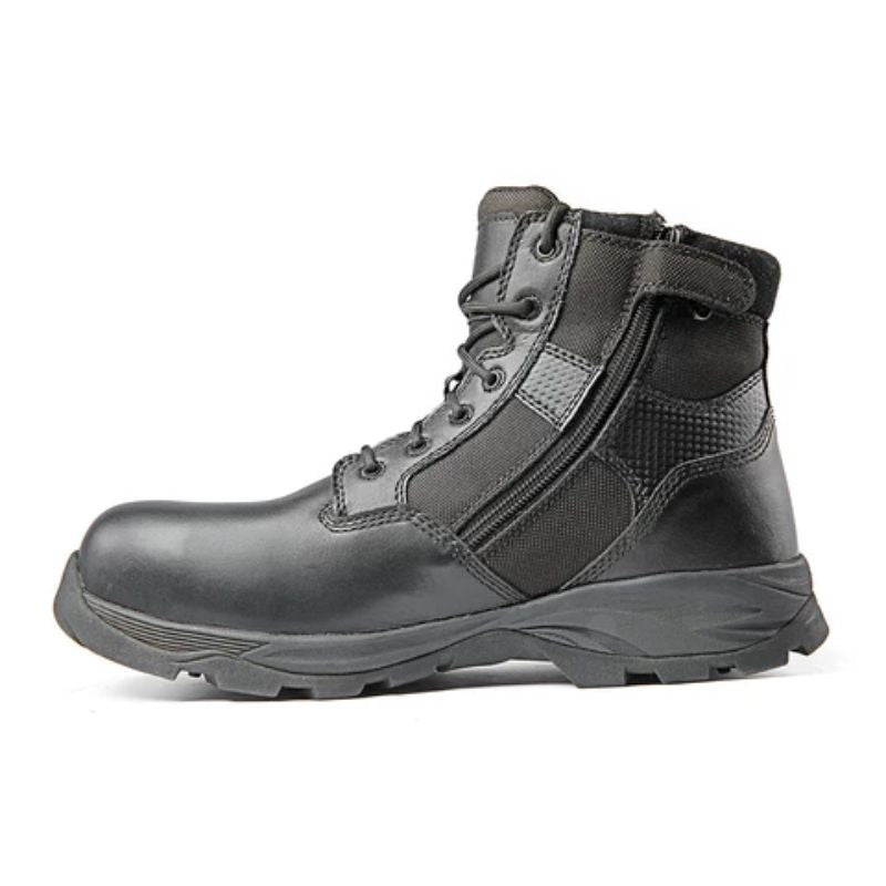 "Ridge Footwear Men's Max Pro 6"" Mid Zipper CTZ Waterproof Black Leather Boots-6-Daily Steals"