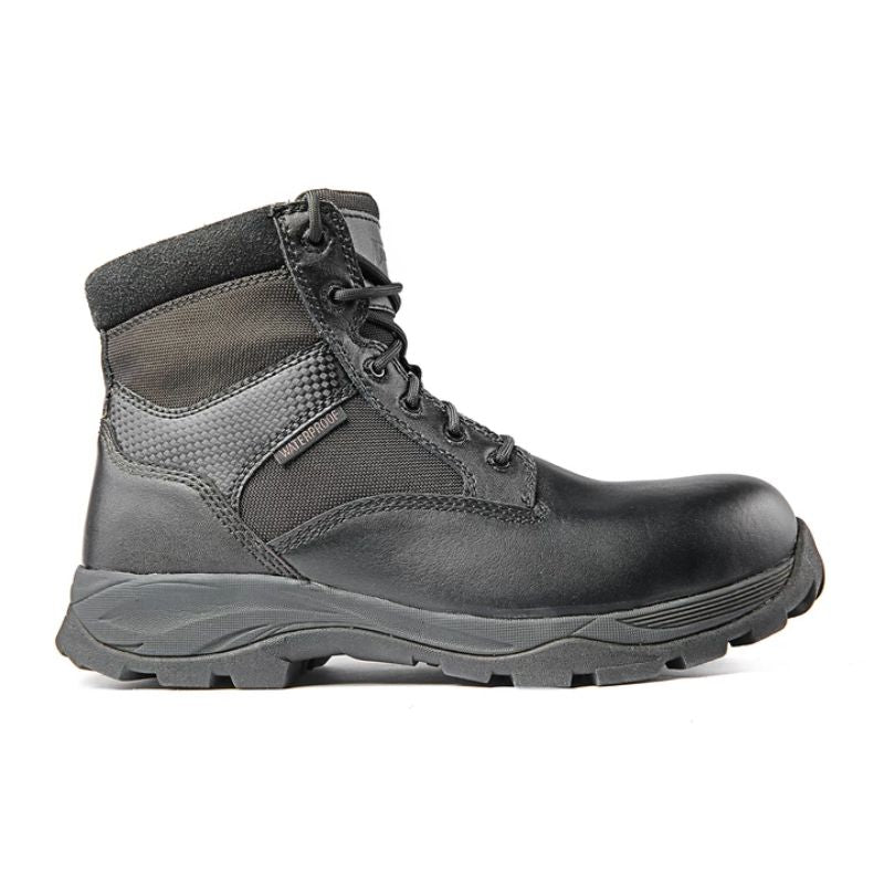 "Ridge Footwear Men's Max Pro 6"" Mid Zipper CTZ Waterproof Black Leather Boots-Daily Steals"