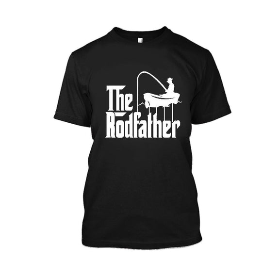 Adult Rodfather Funny Fishing Father/Grandfather T-Shirt - 8 Color Options-Black-S-Daily Steals