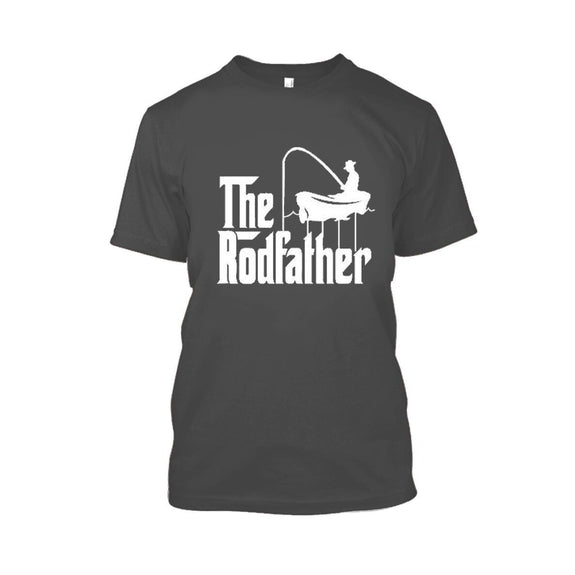 Adult Rodfather Funny Fishing Father/Grandfather Tshirt - 8 Color Options-Charcoal-S-Daily Steals